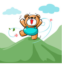 Cute happy bear stand on the mountain xa vector