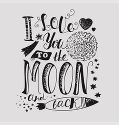 Declaration of love light background moon heart vector