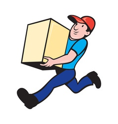 Delivery person worker running delivering box vector