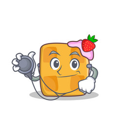 Doctor waffle character cartoon design vector