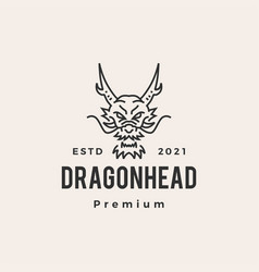 dragon head monoline line hipster vintage logo vector image