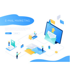 Email marketing - modern colorful isometric web vector