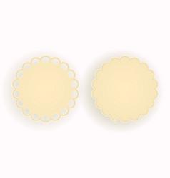 Emblem frame of round form beige hue threaded vector