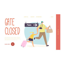 father with child late for plane boarding landing vector image