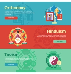 Flat religions concepts icons vector
