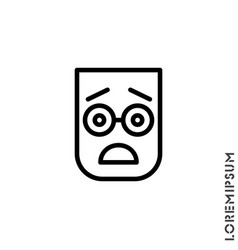 Frowning with open mouth emoji outline icon vector