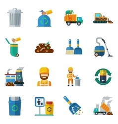 Garbage Recycling Color Icons vector