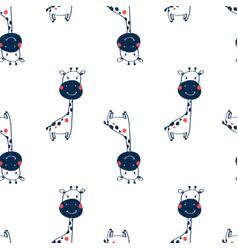 giraffe seamless pattern design with slogan vector image