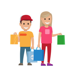 Girl and boy with bags shopping set vector