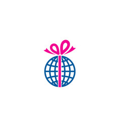 globe gift logo icon design vector image