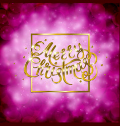 golden text on pink background merry christmas vector image