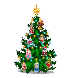 Green christmas tree with colorful painted vector