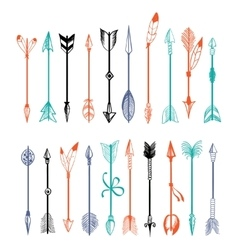 Hand drawn colorful arrows collection vector
