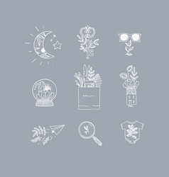 hand made floral icons nature grey vector image