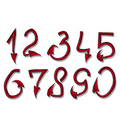 handrawn design font red devil numbers vector image