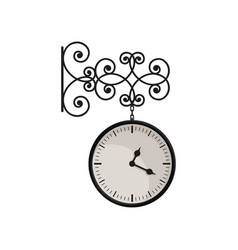 Hanging vintage clock with black metal frame and vector