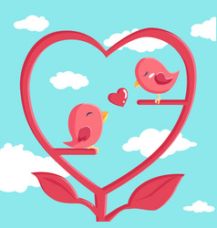 happy valentines day with bird in love vector image