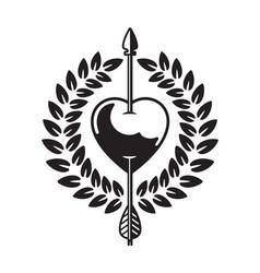 Heart pierced arrow vector
