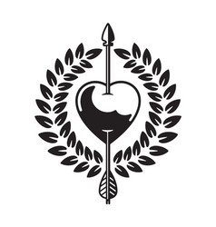 Heart pierced by arrow vector