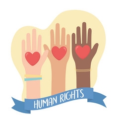 human rights raised hands diverity hearts banner vector image