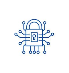 information security line icon concept vector image