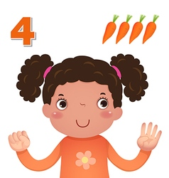 Learn number and counting number four vector