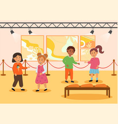little cute children on excursion in museum vector image