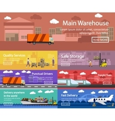 Logistic and transportation concept flat banners vector image