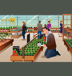 Man buying strawberry plant vector