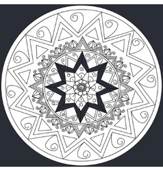Mandala flower on black background coloring vector image