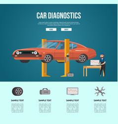 Mechanic making car diagnostics vector