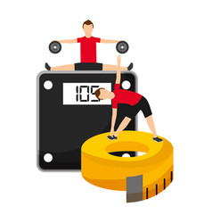 Men making sport fitness exercises with weight vector