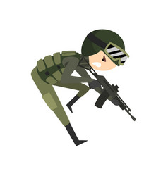 Military man with gun rifle soldier character in vector