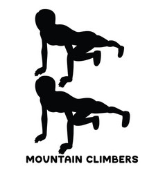 mountain climbers sport exersice silhouettes of vector image