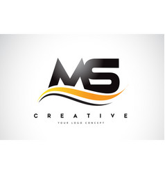 Ms m s swoosh letter logo design with modern vector