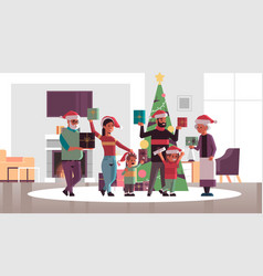 Multi generation family with gift present boxes vector