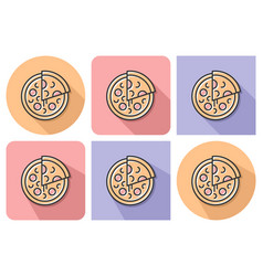outlined icon of pizza with parallel and not vector image