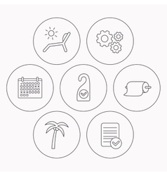Palm tree paper towel and beach deck chair icons vector image