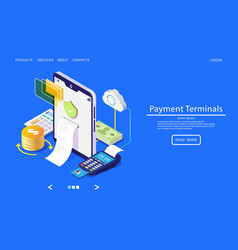 payment terminals website landing page vector image