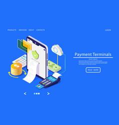 Payment terminals website landing page vector