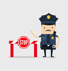 Policeman with stop sign and no entry vector
