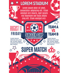 Poster for football cup championship game vector