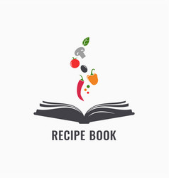 Recipe book with vegetables cookbook recipes vector