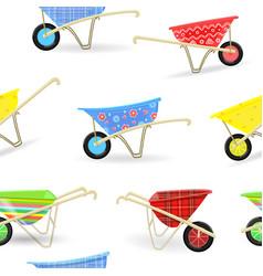 Seamless texture with vintage garden wheelbarrows vector