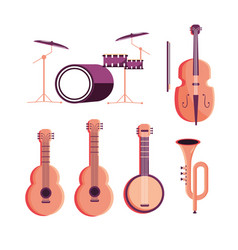 Set drums with violin and guitars with banjo and vector