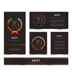 Set of 70th happy anniversary cards template vector
