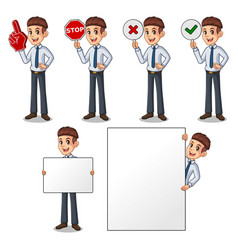 set of businessman in shirt holding sign board vector image