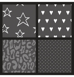 Set of lace fabric seamless patterns vector image