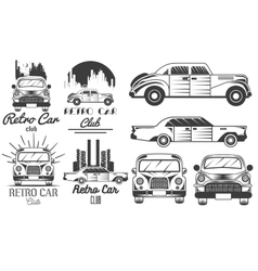 Set of retro car club logos banners vector