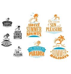 set summer vacation icons vector image